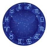 Círculo azul do zodíaco fotografia de stock