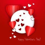 Círculo blanco con los corazones en un fondo rojo Ilustración del vector foto de archivo