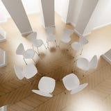 Círculo blanco de sillas Fotos de archivo libres de regalías
