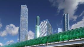 Círculo central de Moscou - poucos anel, CCM, ou MK MZD, e arranha-céus da cidade internacional do centro de negócios, Rússia filme