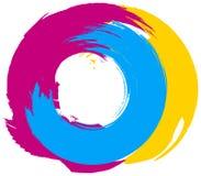 Círculo colorido abstrato do redemoinho do pincel isolado Fotografia de Stock Royalty Free