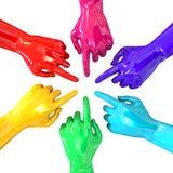 Círculo colorido das mãos que aponta a parte superior interna fotos de stock royalty free