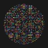 Círculo con símbolos del partido en la línea estilo Tema básico del concepto de los elementos del cumpleaños Impresión redonda de libre illustration