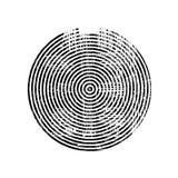 Círculo concéntrico del grunge negro stock de ilustración