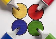 Círculo cuatro con cuatro colores Foto de archivo libre de regalías