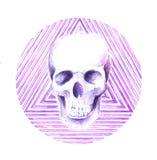 Círculo da aquarela do crânio ilustração stock