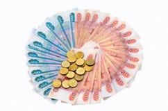 Círculo das cédulas e das moedas fotos de stock