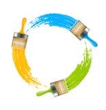 Círculo das escovas com cores de desenho da pintura Foto de Stock