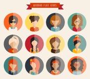 Círculo de ícones lisos Mulher, ilustração do vetor Fotografia de Stock Royalty Free