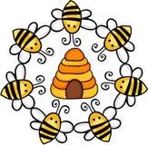 Círculo de abejas alrededor de una colmena ilustración del vector