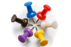 Círculo de agulhas coloridas do pinho no fundo branco imagem de stock royalty free