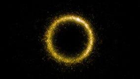 Círculo de brilho da poeira de estrela do ouro de partículas efervescentes da fuga no preto video estoque