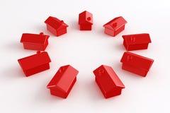 Círculo de casas vermelhas Fotos de Stock Royalty Free