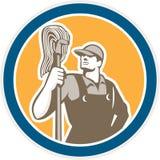 Círculo de Cleaner Holding Mop do guarda de serviço retro ilustração royalty free