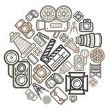 Círculo de cor do ícone da câmera Fotografia de Stock