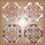 círculo de cuatro caleidoscopios Ilustración del Vector