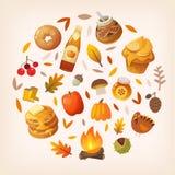 Círculo de elementos do outono ilustração do vetor