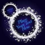 Círculo de estrellas Fondo abstracto azul Anillo con el lugar para su texto Foto de archivo libre de regalías
