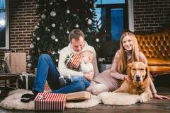 Círculo de família do Natal do tema e do ano novo e animal de estimação doméstico Mulher caucasiano do bebê de um ano do paizinho imagens de stock royalty free