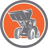 Círculo de Front End Loader Digger Excavator retro ilustração stock