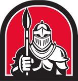 Círculo de Full Armor Holding Paint Brush Half del caballero retro stock de ilustración