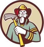 Círculo de Holding Fire Axe del bombero del bombero retro stock de ilustración