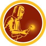 Círculo de Holding Welding Torch del soldador retro stock de ilustración