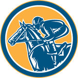 Círculo de Horse Racing Side del jinete retro ilustración del vector