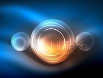 Círculo de incandescência de néon borrado, molde moderno da bolha da olá!-tecnologia, formas redondas de vidro de incandescência  ilustração do vetor
