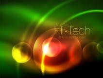 Círculo de incandescência de néon borrado, molde moderno da bolha da olá!-tecnologia, formas redondas de vidro de incandescência  ilustração royalty free