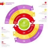 Círculo de Infographics del negocio con las flechas para las presentaciones del negocio Fotografía de archivo libre de regalías