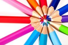 Círculo de lápices coloreados Fotografía de archivo