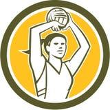 Círculo de la bola del tiroteo del jugador del netball retro Imagenes de archivo