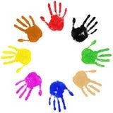 Círculo de la diversidad de las manos stock de ilustración