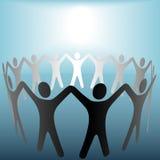 Círculo de la gente bajo fondo brillante del azul del punto Imágenes de archivo libres de regalías