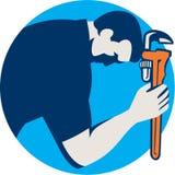 Círculo de la llave de Bowing Holding Monkey del fontanero retro stock de ilustración