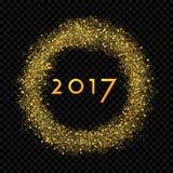 Círculo de la lluvia del polvo de estrella del oro del extracto del Año Nuevo que brilla 2017 Imagenes de archivo