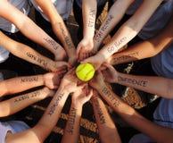Círculo de la motivación del softball de Fastpitch fotos de archivo