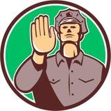 Círculo de la muestra de la parada de la mano del policía de tráfico retro ilustración del vector