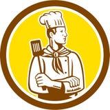 Círculo de la opinión de Holding Spatula Side del cocinero del cocinero stock de ilustración