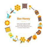 Círculo de la tarjeta de la bandera de la abeja de la historieta Vector Fotos de archivo libres de regalías