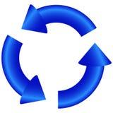 Círculo de las flechas redondas azules 3d stock de ilustración
