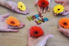 Círculo de las manos que sostienen las flores coloreadas multi Fotos de archivo libres de regalías