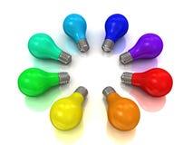 Círculo de los bulbos del arco iris Imágenes de archivo libres de regalías