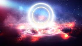 Círculo de néon no centro, fulgor mágico, luz, raios, fumo fotografia de stock royalty free