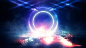Círculo de néon no centro, fulgor mágico, luz, raios, fumo foto de stock royalty free