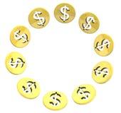 Círculo de oro aislado del símbolo de la moneda del dólar en blanco Foto de archivo libre de regalías