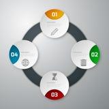 Círculo de papel del infographics cuatro del ejemplo del vector Stock de ilustración