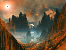 Círculo de pedra estrangeiro no vale da montanha ilustração do vetor