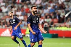 Círculo de qualificação da liga de campeões de UEFA terceiro entre Ajax contra PAO Imagens de Stock